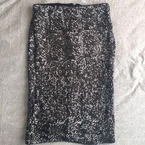 Silver Sequin Pencil Skirt